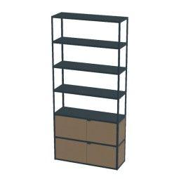 Hay New Order boekenkast met deuren 100 cm charcoal