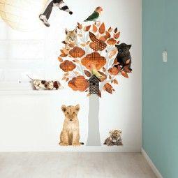 KEK Amsterdam Safari Friends Tree orange muursticker