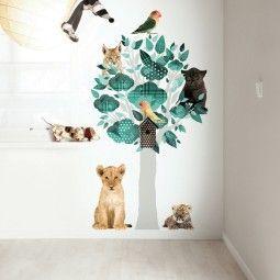 KEK Amsterdam Safari Friends Tree turquoise muursticker