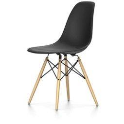 Vitra Showroommodel - DSW stoel, kuip zwart, onderstel geelachtig esdoorn